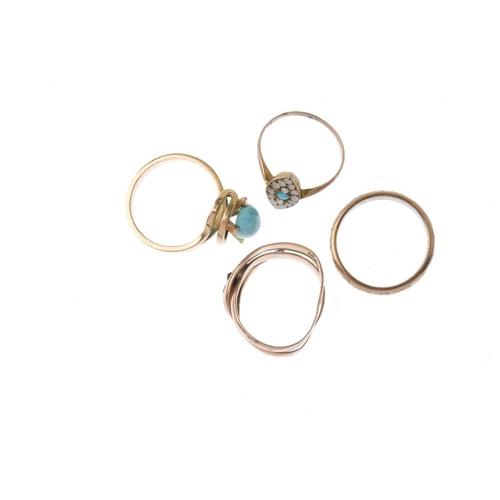 880 - Four dress rings. To include a Clogau 9ct gold band ring, an Edwardian 9ct gold red paste snake ring...
