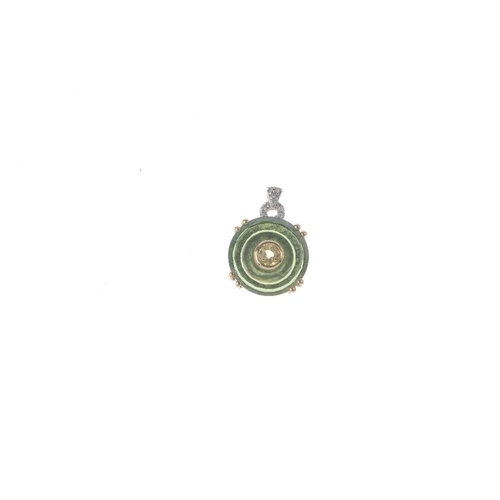 881 - A selection of gem-set jewellery. To include a 9ct gold diamond peridot and green gem pendant, a pai...