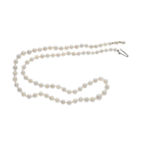 883 - A graduated cultured pearl single-strand necklace. Designed as a series of seventy-eight cultured pe...