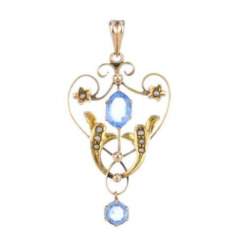 886 - A selection of mostly early 20th century 9ct gold jewellery. To include a synthetic blue spinel and ...