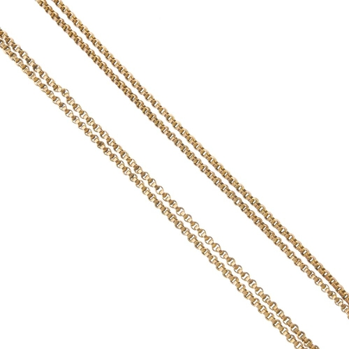 890 - An early 20th century 9ct gold longuard chain. Designed as a series of belcher links. Length 141.5cm...