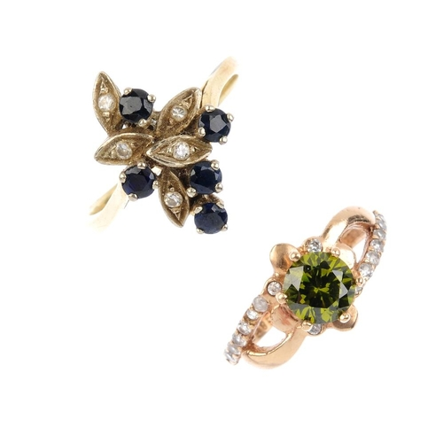 892 - Two gem-set rings. To include a sapphire and diamond foliate ring, together with a circular green ge...