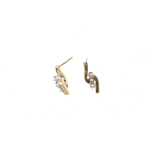 893 - A set of 18ct gold diamond jewellery. Each of bi-colour design, the pendant designed as a brilliant-...
