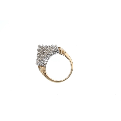 894 - A 9ct gold diamond cluster ring. Designed as a single-cut diamond stepped cluster, with similarly-cu...