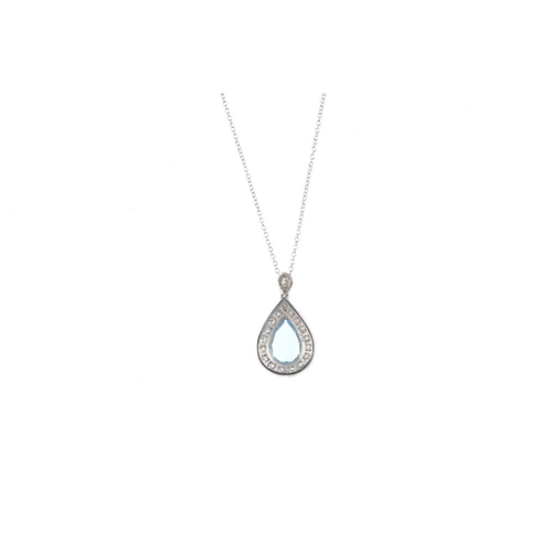 909 - An aquamarine and diamond cluster pendant. The pear-shape aquamarine, within a brilliant-cut diamond...