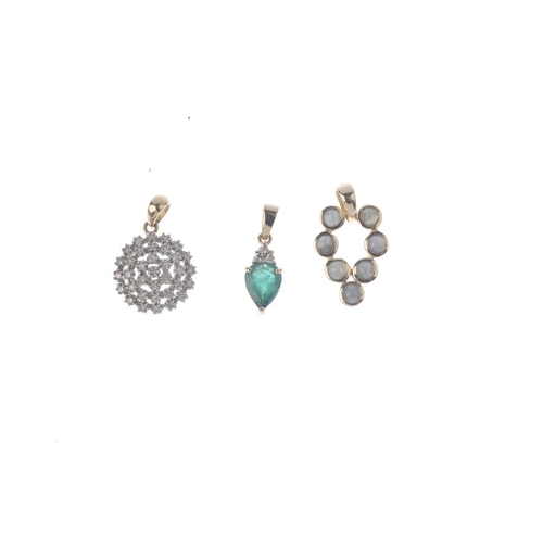 913 - Six gem-set pendants. To include a 9ct gold aquamarine and diamond pendant, a 9ct gold emerald and d...