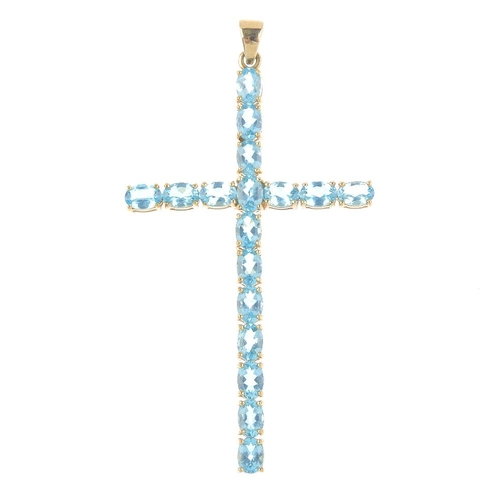 916 - A 9ct gold apatite cross pendant. Designed as a series of oval-shape apatite. Hallmarks for Birmingh...