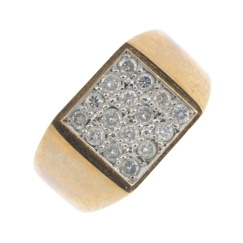 933 - A gentleman's 9ct gold diamond ring. The brilliant-cut diamond square-shape panel, with tapered shou...
