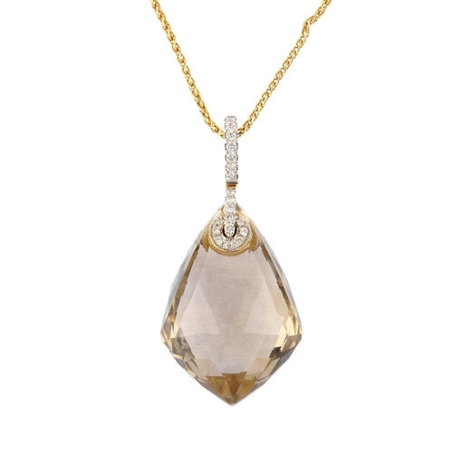 94 - An 18ct gold smoky quartz and diamond pendant. The lozenge-shape smoky quartz, with brilliant-cut di...