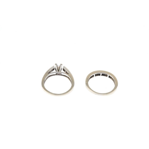 95 - Two diamond rings. To include a square-shape diamond ring with similarly-cut diamond line sides, tog...