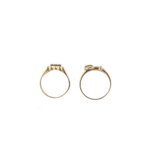 961 - Two 9ct gold diamond dress rings. The first designed as pave-set diamond square-shape cluster, with ...