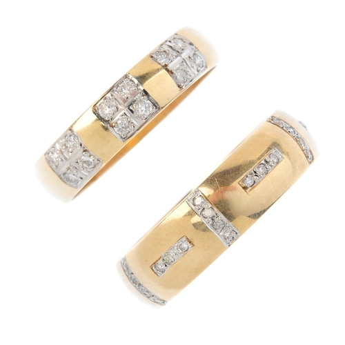 966 - Two 9ct gold diamond band rings. The first designed as three brilliant-cut diamond quatrefoil panels...