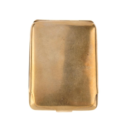 968 - A 1920s 9ct gold cigarette case. Hallmarks for London, 1924. Length 6cms. Weight 24.6gms. <br><li>Ov...