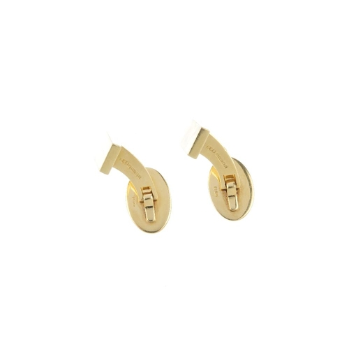 971 - A pair of 18ct gold cufflinks. Each designed as a rectangular-shape panel, with oval-shape swivel-ba...