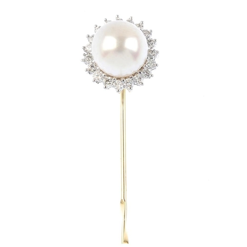975 - A pearl and diamond stick pin. The cultured pearl within a brilliant-cut diamond stepped surround, w...