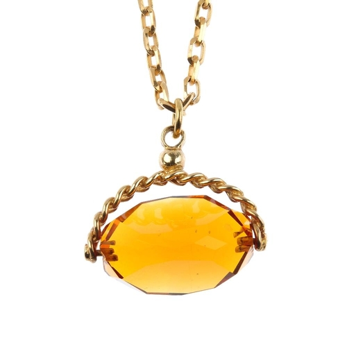 976 - A 9ct gold chain and paste swivel fob. The 9ct gold belcher-link chain, suspending an orange paste s...