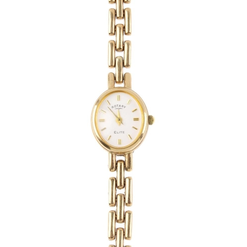 986 - ROTARY - a lady's 9ct gold watch. The oval-shape white dial, with baton hour marker's and brick-link...