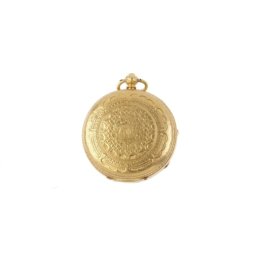 988 - A mid Victorian 18ct gold pocket watch. The circular dial, with Roman numerals and scrolling surroun...