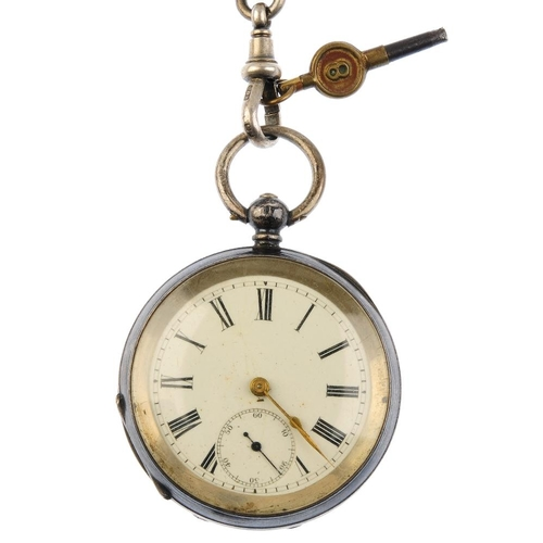 989 - A late Victorian silver Albert and pocket watch. The graduated curb-link Albert suspending a T-bar a...