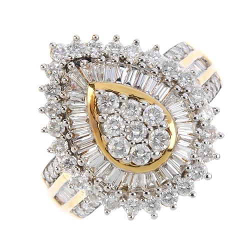99 - A 14ct gold diamond cluster ring. Of pear-shape outline, the brilliant-cut diamond cluster, within a...