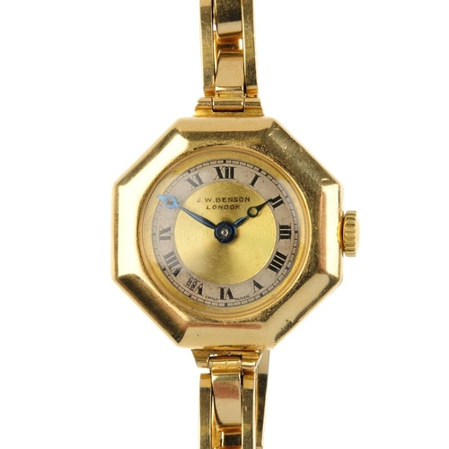 993 - A 1930s 18ct gold lady's manual wind wristwatch. The circular-shape gold and silver coloured dial, w...