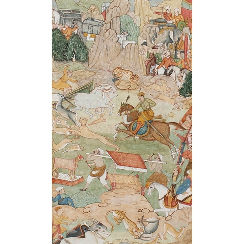 706 - A framed and glazed Mughal watercolourDepicting Indian hunting scene with figures and various animal...