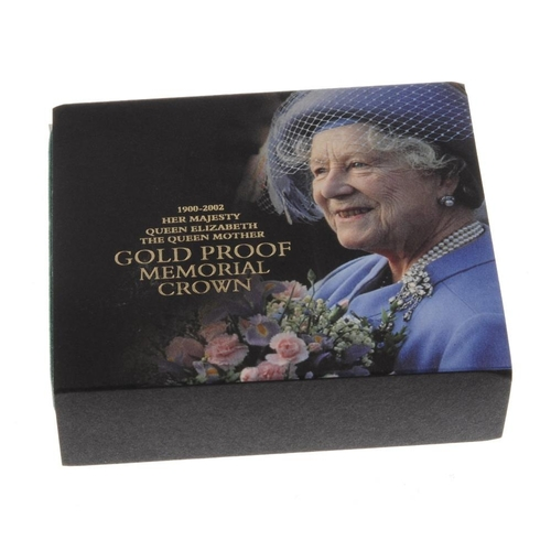 101 - Elizabeth II, The Queen Mother, Gold Proof Memorial Crown 2002, in Royal Mint case of issue complete...