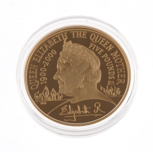 102 - Elizabeth II, The Queen Mother, Gold Proof Centenary Crown 2000, in Royal Mint case of issue complet...
