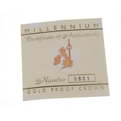 103 - Elizabeth II, Millennium Gold Proof Crown 2000, in Royal Mint case of issue complete with certificat...