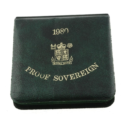 106 - Elizabeth II, proof Sovereign 1980, in case of issue. As issued. <br>As issued. <br>...