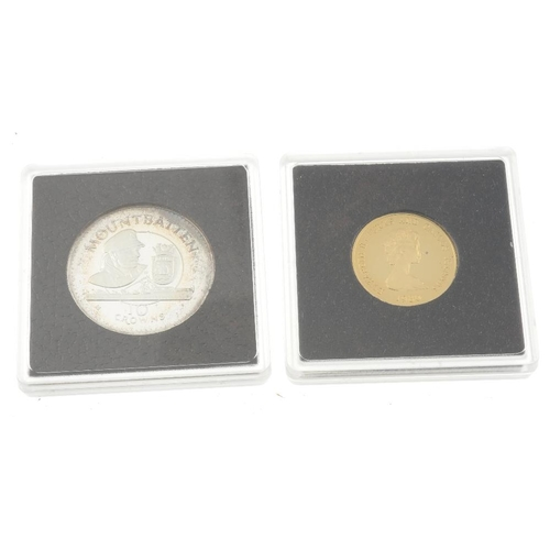 108 - Turks & Caicos islands, Elizabeth II, gold 100-Crowns 1980, 12ct., 13.1g, silver proof 10-Crowns (2)...