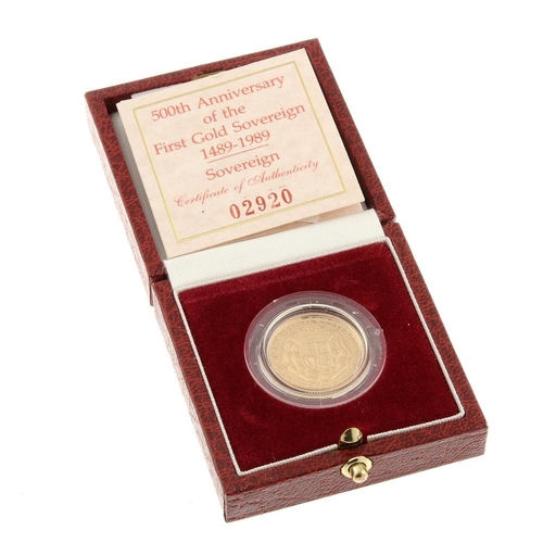 109 - Elizabeth II, proof Sovereign 1989, for the 500th Anniversary of the first gold Sovereign, with cert...