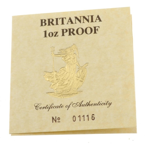 110 - Elizabeth II, gold proof 1oz Britannia Hundred Pounds 1987, with certificate no.01116, in Royal Mint...