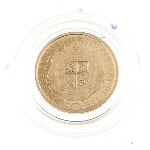 111 - Elizabeth II, proof Half-Sovereign 1989, for the 500th Anniversary of the first gold Sovereign, with...