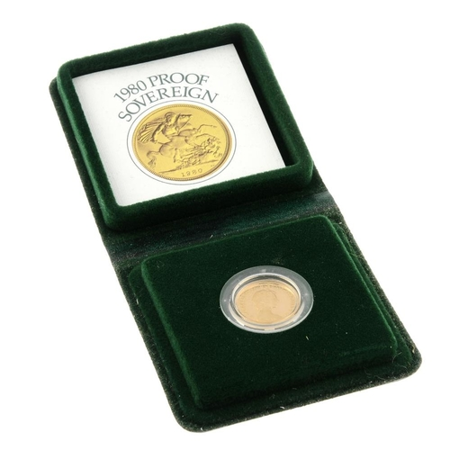 112 - Elizabeth II, proof Sovereign 1980, in Royal Mint case of issue. As issued.  <br>As issued. <br>...
