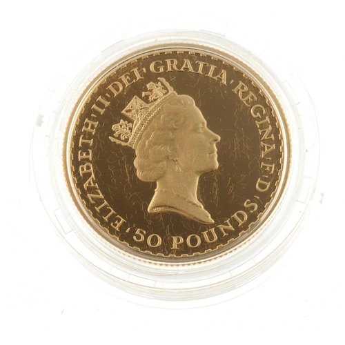 113 - Elizabeth II, gold proof 1/2oz Britannia Fifty Pounds 1987, with certificate no.00884, in Royal Mint...