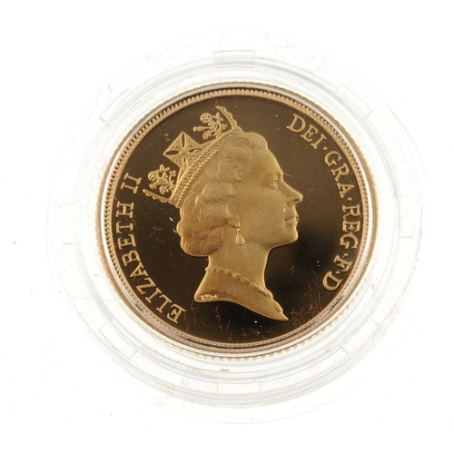 114 - Elizabeth II, proof Sovereign 1988, with certificate no.07351, in Royal Mint case of issue.  <br>...