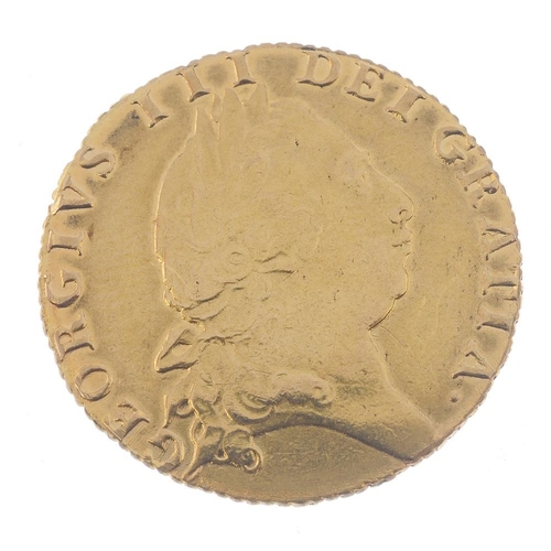 12 - George III, spade Guinea 1793 (S 3729). Fine, slight scratches to reverse, ex loose mount.  <br>Fine...