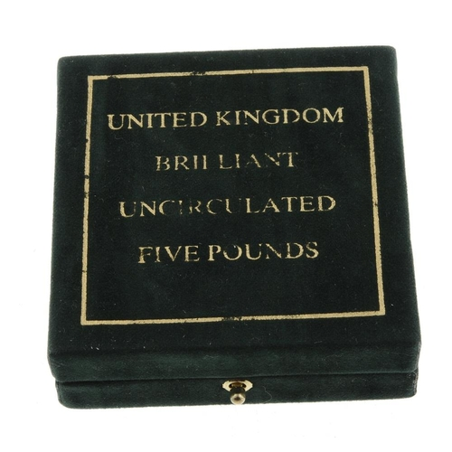 120 - Elizabeth II, gold brilliant uncirculated Five-Pounds 2005, with certificate no. 0216, in Royal Mint...
