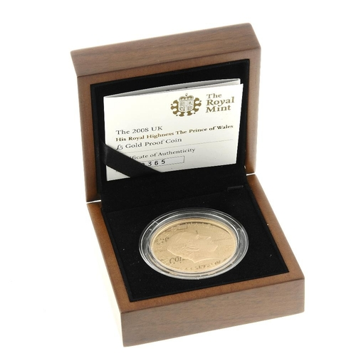 121 - Elizabeth II, gold proof Five-Pounds 2008, to commemorate the 60th birthday of the Prince of Wales, ...
