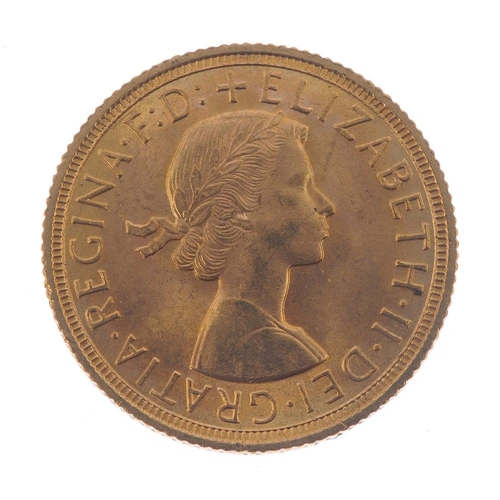 127 - Elizabeth II, Sovereign 1958. Almost extremely fine.  <br>Almost extremely fine.  <br>...
