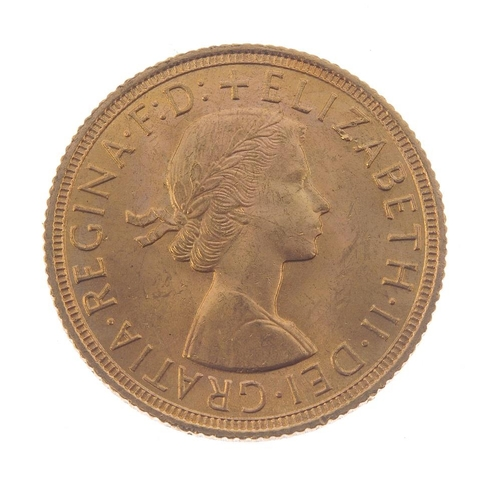 128 - Elizabeth II, Sovereign 1958. Almost extremely fine.  <br>Almost extremely fine.  <br>...