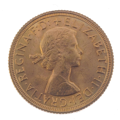 129 - Elizabeth II, Sovereign 1958. Almost extremely fine.  <br>Almost extremely fine.  <br>...