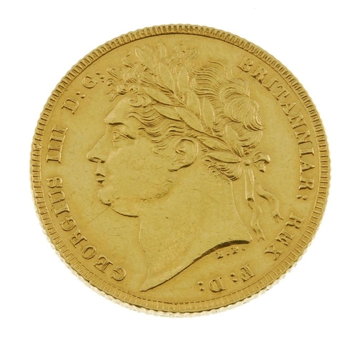 13 - George IV, Sovereign 1821 (S 3800). Good very fine. <br>Good very fine. <br>...