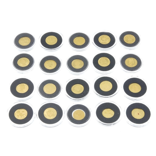 142 - Miniature gold coins of the world, set of twenty coins from various countries, 24ct., total wt. 24.2...