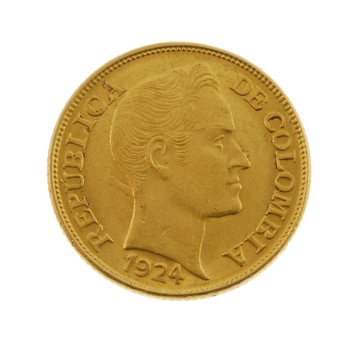 145 - Republic of Columbia, Five- Pesos 1924B. Good very fine. <br>Good very fine. <br>...