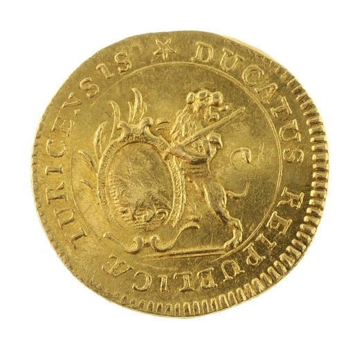 148 - Switzerland, Zurich, gold Ducat 1775, 3.4g (KM 161). Extremely fine, adjustment marks to reverse.  <...