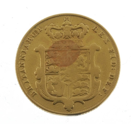 15 - George IV, Sovereign 1827. Fine, localised scratches, previously mounted. <br>Fine, noticeable local...