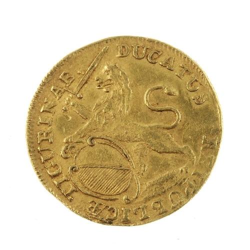 150 - Switzerland, Zurich, gold Ducat 1761 (KM 140). Very fine.  <br>Very fine.  <br>...