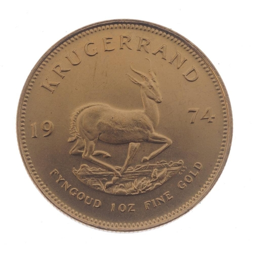 156 - South Africa, Krugerrand 1974. Good extremely fine.  <br>Good extremely fine.  <br>...
